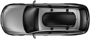 Bird's eye view of a car top roof box