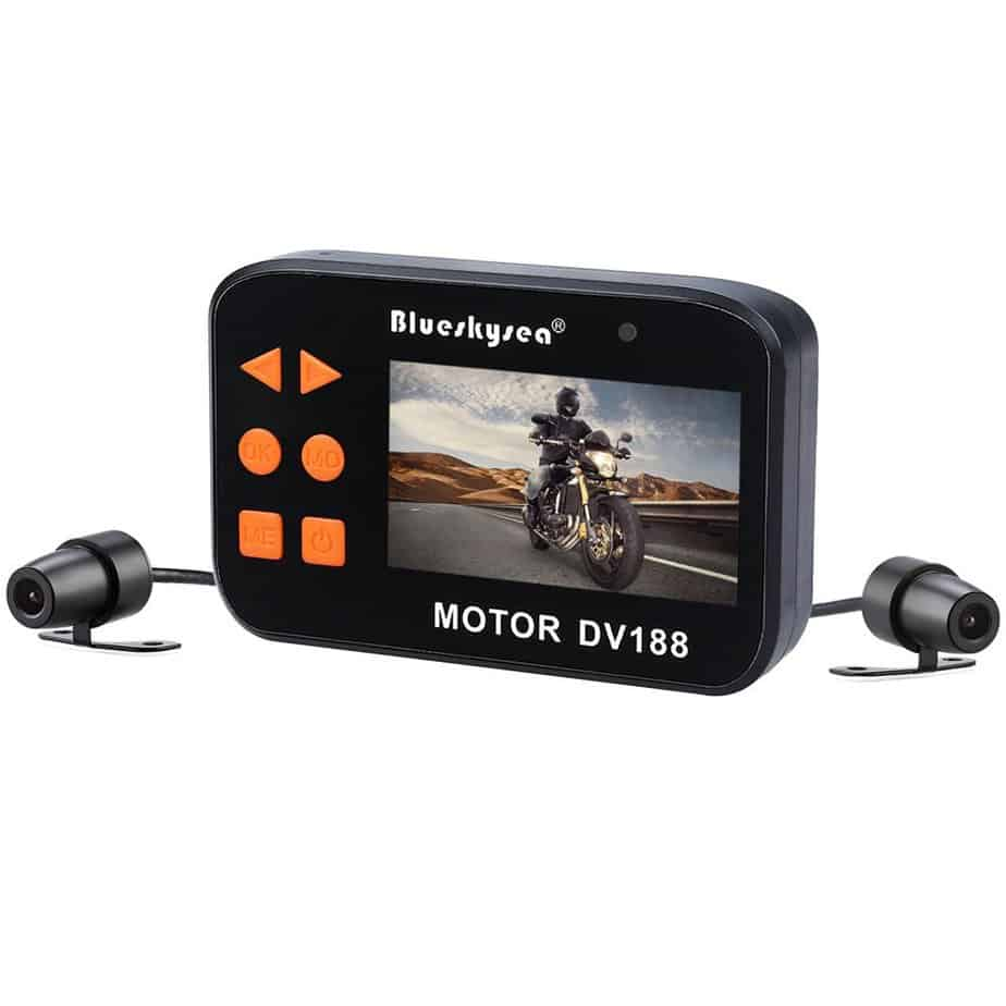 "Blueskysea DV188 Motorcycle Recording Camera 1080p Dual Lens Video Driving Recorder Motorbike Dash Cam Sports Action Camera 2.7"" LCD Screen 130 Degree Angle Night Vision"