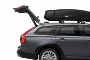 Thule Roof Box on top of Car with rear trunk open